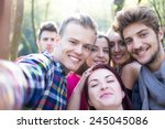 young people having good time... | Shutterstock . vector #245045086