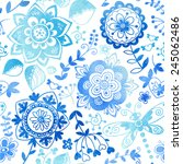 seamless pattern with flowers.... | Shutterstock .eps vector #245062486
