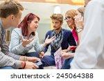 business friends discussing... | Shutterstock . vector #245064388