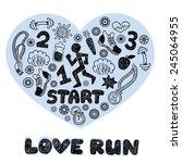 love run black vector icons set.... | Shutterstock .eps vector #245064955