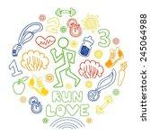 love run color vector icons set.... | Shutterstock .eps vector #245064988