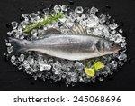 Fresh Sea Bass Fish On Ice On ...