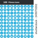 100 fitness icons  blue circle... | Shutterstock .eps vector #245073202