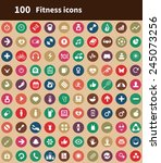 100 fitness icons  brown... | Shutterstock .eps vector #245073256