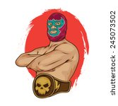 Mexican Wrestler Pose Vector...