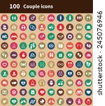 100 couple icons  brown... | Shutterstock .eps vector #245076946