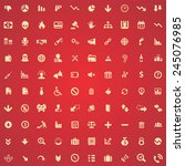 100 crisis icons  yellow on red ... | Shutterstock .eps vector #245076985