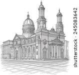 sketch of church | Shutterstock .eps vector #245083642