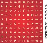 100 auto icons  yellow on red... | Shutterstock .eps vector #245092576
