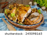 cut into portions of fried... | Shutterstock . vector #245098165