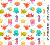 cute collection of cartoon sea... | Shutterstock .eps vector #245099368
