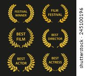 film awards. gold award wreaths ... | Shutterstock .eps vector #245100196