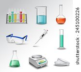 laboratory glass equipment... | Shutterstock .eps vector #245100226