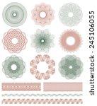 set of guilloche decorative... | Shutterstock .eps vector #245106055