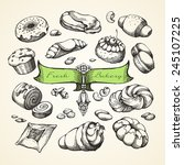 bakery hand drawn vector set.  | Shutterstock .eps vector #245107225