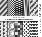 Stock vector  seamless geometric vector patterns black and white texture 245114362