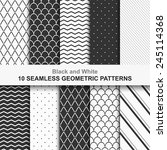 Stock vector  seamless geometric vector patterns black and white texture 245114368