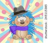 cute hedgehog wearing a scarf... | Shutterstock .eps vector #245115385