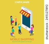 mobile shopping e commerce... | Shutterstock .eps vector #245127892