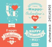 set of four happy valentine's... | Shutterstock .eps vector #245141905