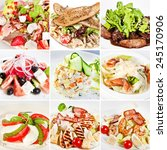 various salads collage... | Shutterstock . vector #245170906