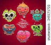 Cartoon Valentine Hearts Set...