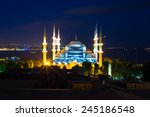 blue mosque at sunset in... | Shutterstock . vector #245186548