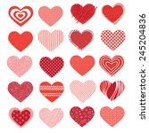 set of different hearts on... | Shutterstock .eps vector #245204836