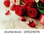 Roses And A Hearts On Wooden...