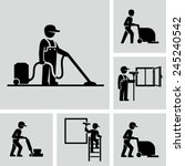 cleaner man working vector... | Shutterstock .eps vector #245240542