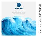 Watercolor Ocean Tsunami Waves. ...