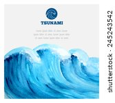 watercolor ocean tsunami waves. ... | Shutterstock .eps vector #245243542
