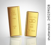 two gold bars with reflection... | Shutterstock . vector #245259028