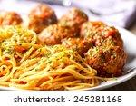 spaghetti and meatballs | Shutterstock . vector #245281168