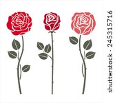 red roses on white. vector... | Shutterstock .eps vector #245315716