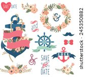 nautical flora wedding elements | Shutterstock .eps vector #245350882