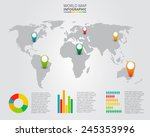vector world map with... | Shutterstock .eps vector #245353996