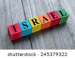 word israel on colorful wooden... | Shutterstock . vector #245379322