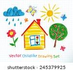 childlike drawing on school...   Shutterstock .eps vector #245379925