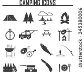 camping equipment symbols and... | Shutterstock .eps vector #245380006