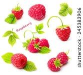 red ripe berry raspberry... | Shutterstock . vector #245383906