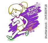 run girl color vector... | Shutterstock .eps vector #245383918
