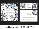set of invitations with floral... | Shutterstock .eps vector #245385982