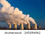smoking pipes of thermal power... | Shutterstock . vector #245396962