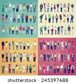 multiethnic casual people... | Shutterstock . vector #245397688