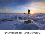 winter landscape fishermen on... | Shutterstock . vector #245399092