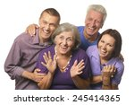 cute family portrait with... | Shutterstock . vector #245414365