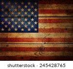 Grunge Usa Flag On Wood