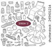 set of vector cartoon bathroom... | Shutterstock .eps vector #245431216