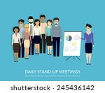 daily standup meeting with... | Shutterstock .eps vector #245436142